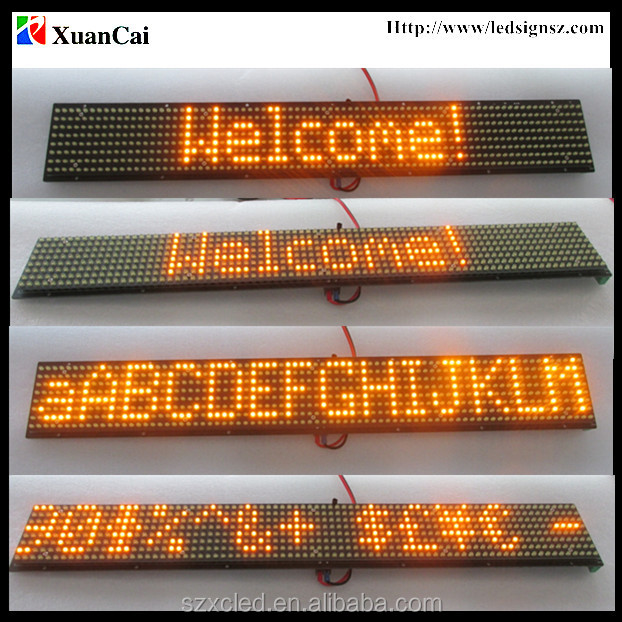 Hot! Super brightness >=10000cd/m2 yellow lamp P10|8mm (HxW)-8X80 LED bus message signs