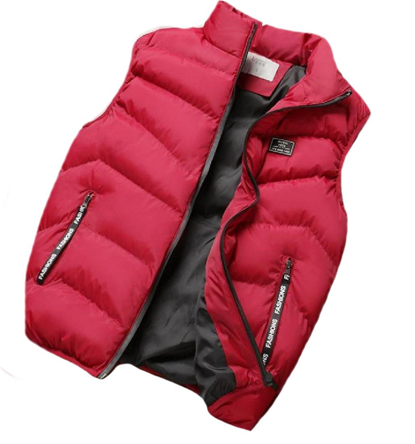 Abetteric Men Chunky Original Fit Zip-Front Leisure Puffer Jacket Vest