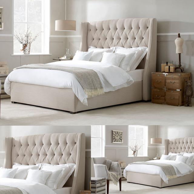 greywhite headboard king size wholesale bed frames mattress foundation hotel bed base - Wholesale Bed Frames