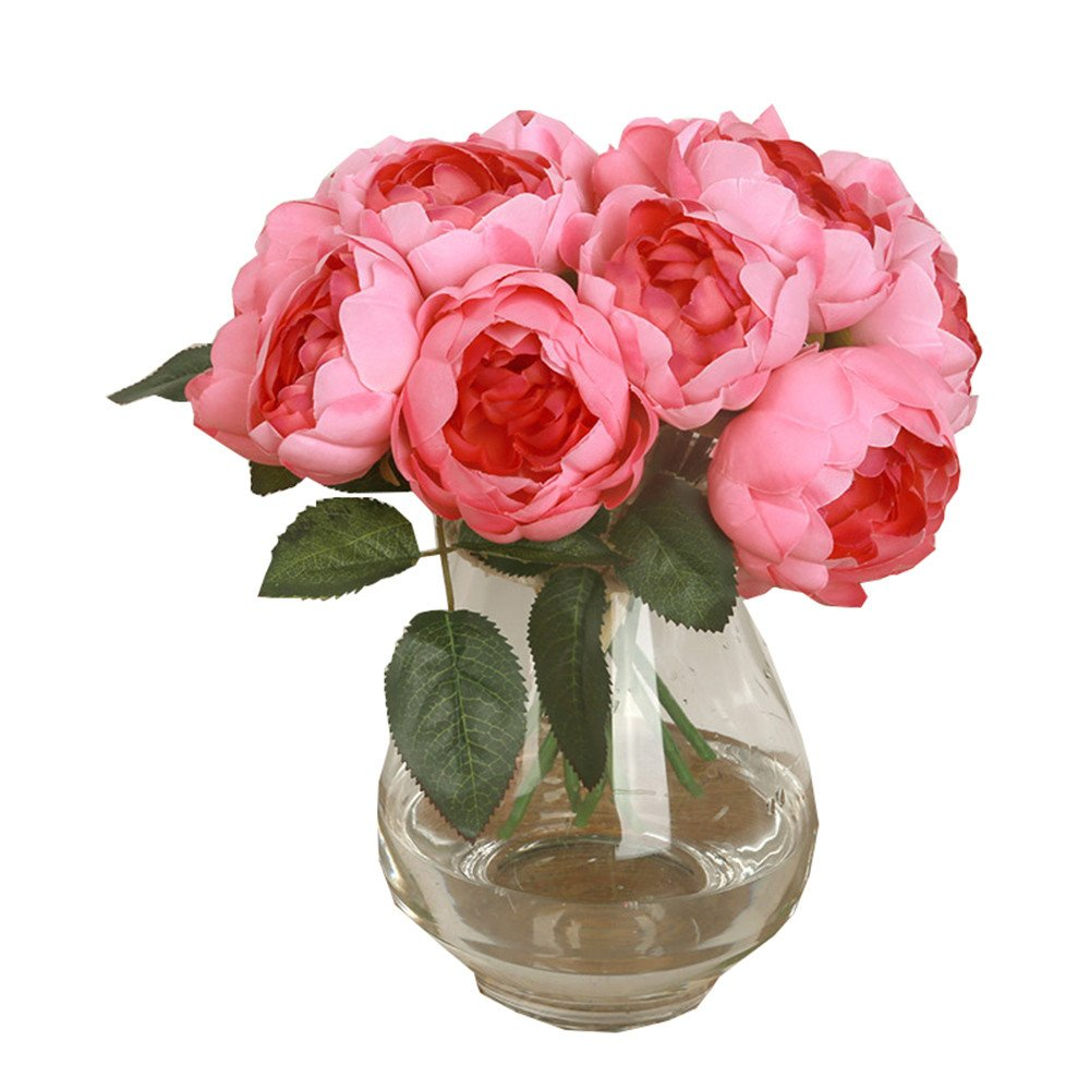 Doinshop Artificial Peony Silk Flower Leaf Home Wedding Party Décor 1 Bouquet 6 Heads (Hot Pink)