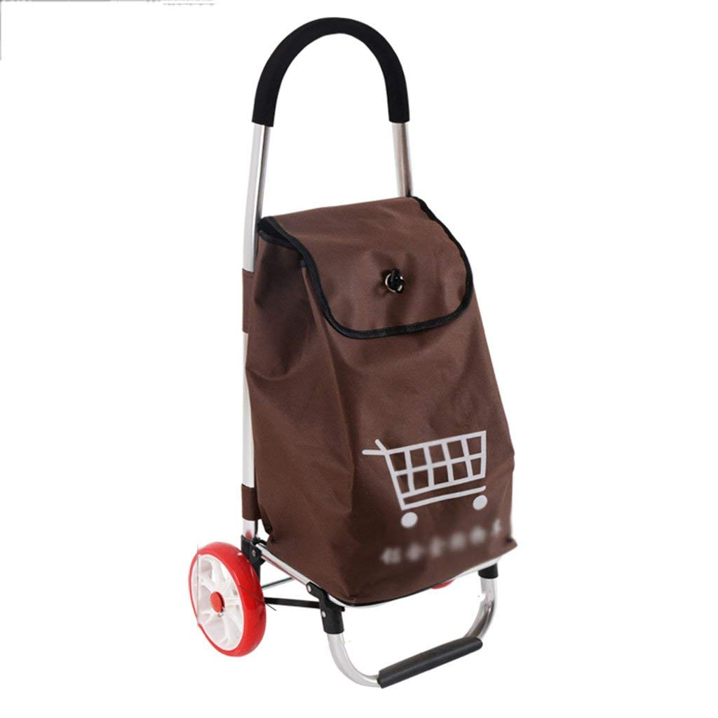 Push-pull car Grocery shopping cart shopping cart Small cart Home climbing stairs Trolley Portable trailer Old man shopping cart (Color : Brown, Size : 283191cm)