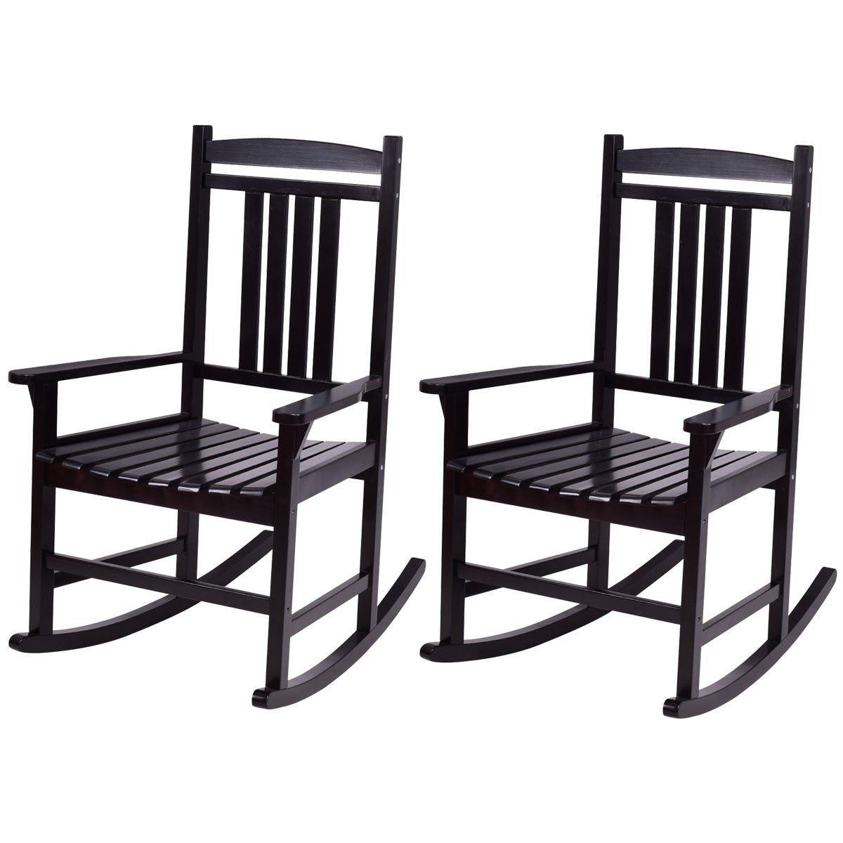 Giantex Set of 2 Wood Rocking Chair Outdoor Indoor Patio Porch Rocker for Porch, Patio, Living Room, Black