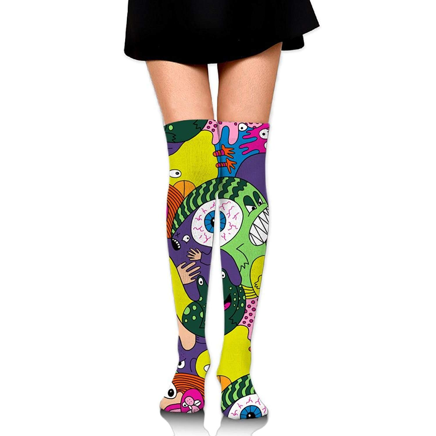Zaqxsw Alien Eyes Women Vintage Thigh High Socks Thermal Socks For Ladies