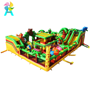 Inflatable amusement park forest fun city bouncy castle with elephant tiger animals