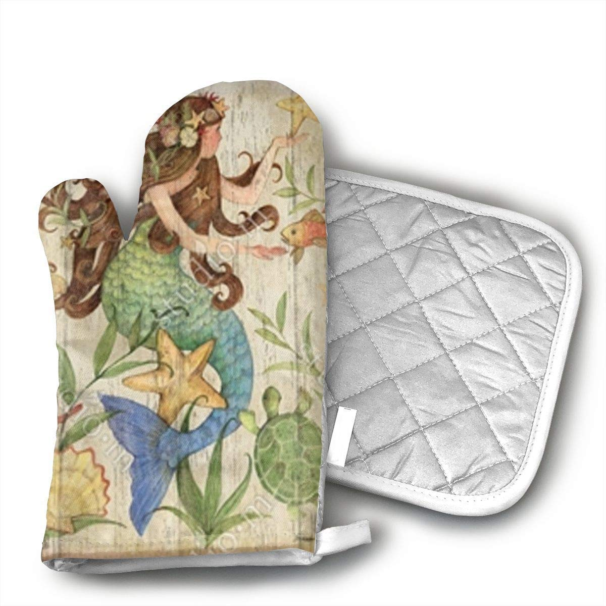 Mermaid Yourtablecloth Set of Oven Mitt and Pot Holder Or Oven Gloves-100% Cotton, High Heat Resistance, Superior Protection & Comfort¨CElegant Design