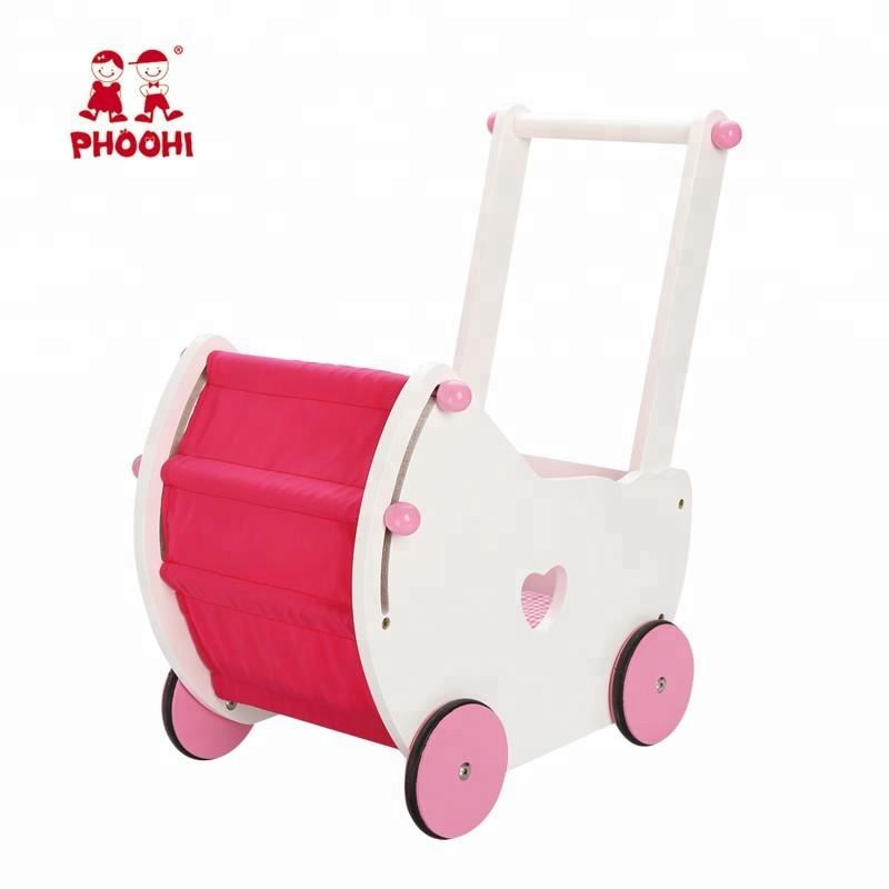 American girl furniture pretend doll play game white pushchair toy wooden doll pram for kids American doll furniture