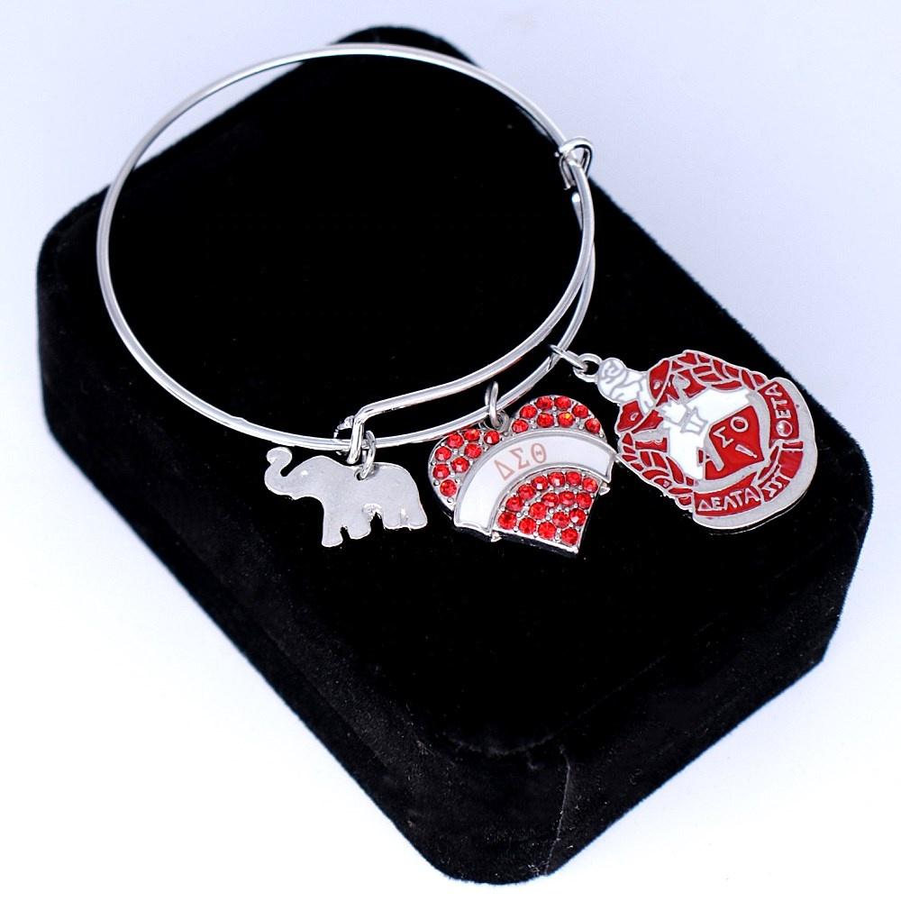 Custom Design Fashion Red Enamel Elephant Delta Sigma Theta Pendant Bangles DST Sign Greek Letter Sorority Souvenir Jewelry фото