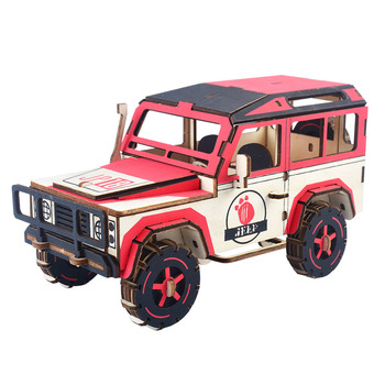 HOT!!!Thunderbolt off-road vehicle  wooden 3D simulation  model car, children's manual puzzle DIY jigsaw puzzle toy