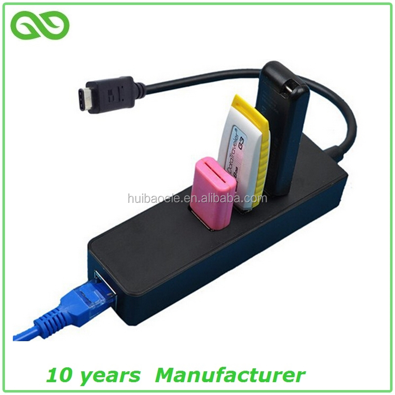 usb type c hub usb c to usb 3.0 +RJ45 lan ethernet hub with gigabit 1000 mbps