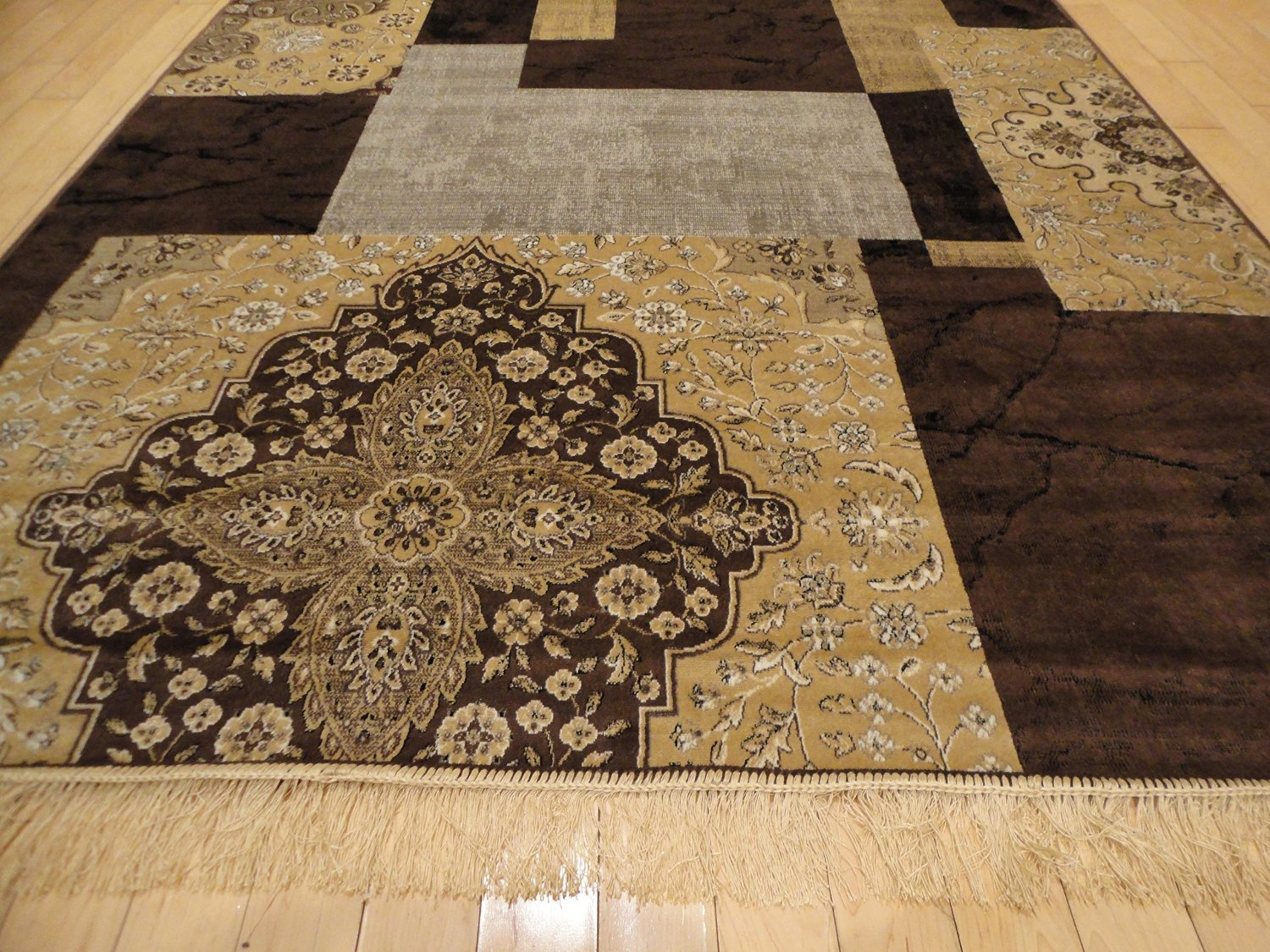 Buy Large 8x11 Rugs Contemporary Tree Leaf Brown Black