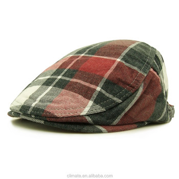 1c82cfba6e727 CLIMATE newest fashion England beret cap cotton woven brushed jacquard plaid  newsboy hats for men and