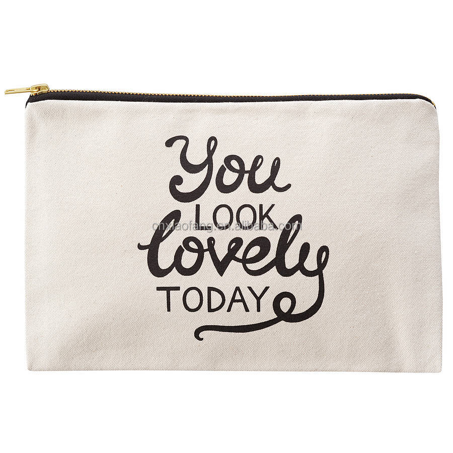 custom promotional wholesale eco travel canvas cosmetic bag personalized