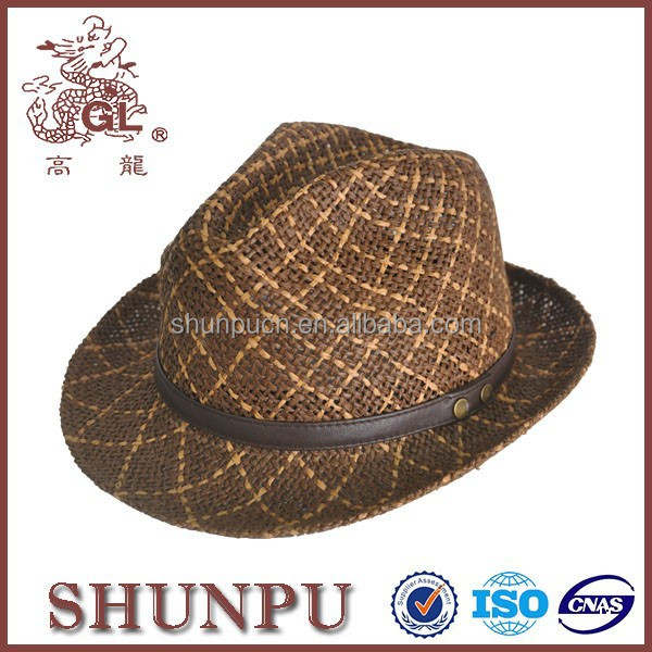 Mens hats and caps,twist paper fedora men hat with leather decroation
