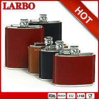 mini round hip flask with PU leather