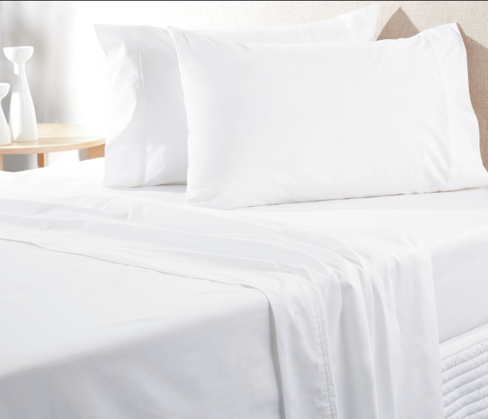 High Quality Soft Woven White Cotton Bed Sheet and Pillow Case
