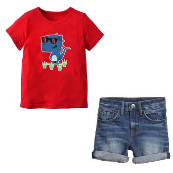 c2fa6a2cd86 Boys Clothes Sets Children Clothing Summer Short Sleeve Tracksuit For Boys  cartoon tops + shorts 2pcs