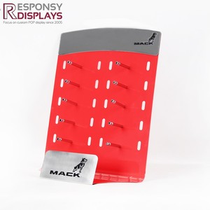 Countertop Red Metal Sheet Glass Display Rack Customize With Ten Hooks For Glasses Chain Store