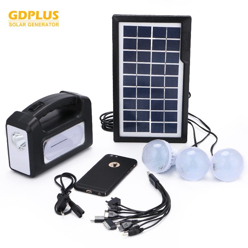 New arrival design 3w 6v portable solar lighting system with 3 remote bulbs and solar panel kits with phone charger