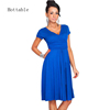 2018 Summer New Arrival Fashion Deep V-neck Business Dress Women Short Sleeve Wrinkled Waist A Line Dresses