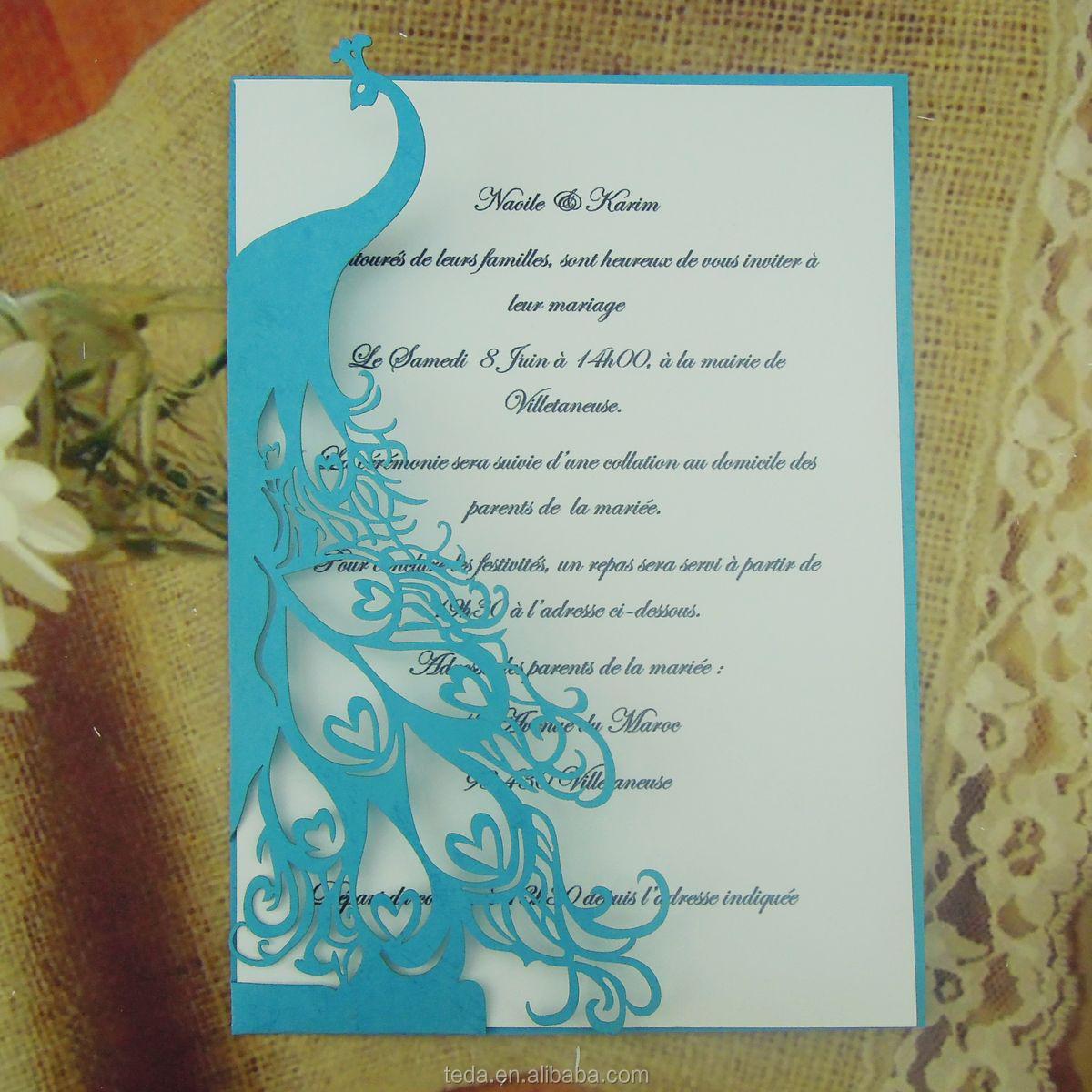 Peacock Wedding Invitation Card, Peacock Wedding Invitation Card ...