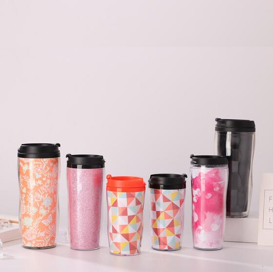 16oz Customized Double Wall Plastic Tumbler Mug With Paper Insert