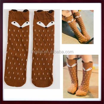 9c826e860 Fox Cartoon Tube Socks Baby Knee-High Socks Kids Toddler Combed Cotton  Novelty Knee High