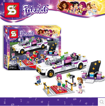 New Friends Pop Star Tour Bus Model SY382 Building Blocks 278pcs Girls Minifigures Bricks Toys Compatible With Legoe 41107 gift