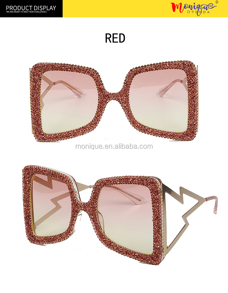 Brand designer Oversized Sunglasses Women Big Wide Temple Bling Stones 2019 Fashion Shades UV400 Vintage Brand Glasses Oculos