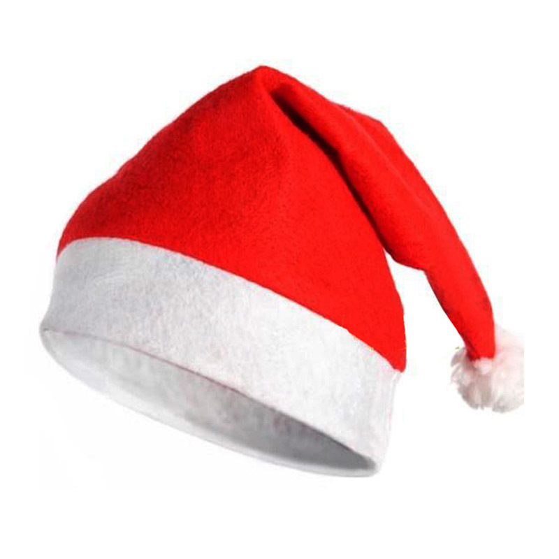 12Pcs/lot Fabrics Christmas Cap Ultra Soft Santa Claus Christmas Clothing Christmas Hat Non-Woven Christmas Supplies Decoration
