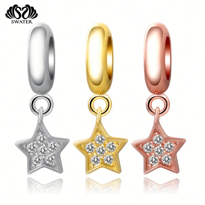 Custom Jewelry Bracelet Star Zircon Rose Gold Wholesale Engravable Charms