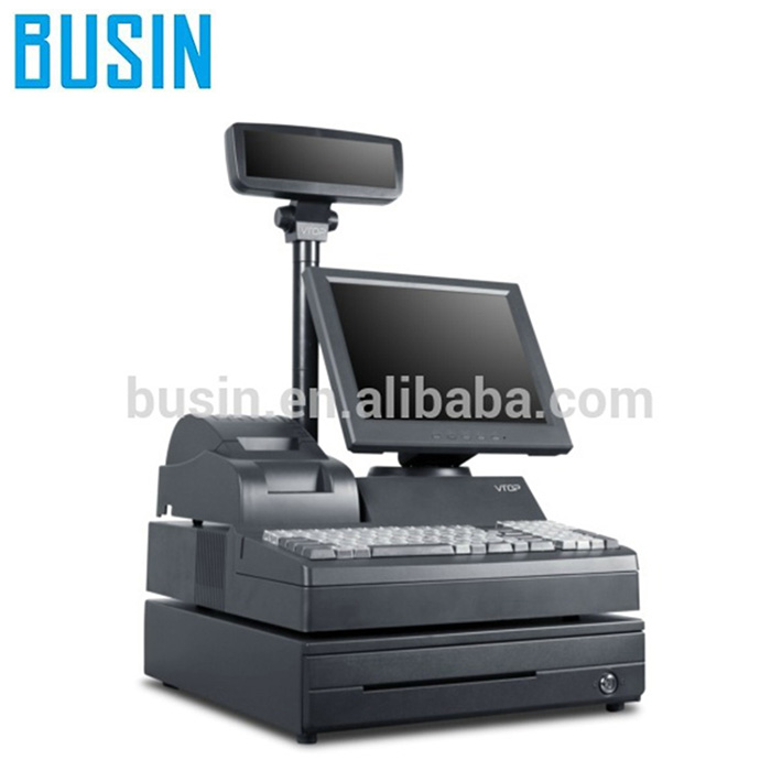 "BUSIN 12.1"" Cheap POS System KG2-H1280 With 58mm Thermal Receipt Printer & 102 Keys Programmable Keyboard"