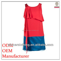 Garment Factory From shenzhen China ladies' loose fit double color sleeveless round necked patterns raw silk dress