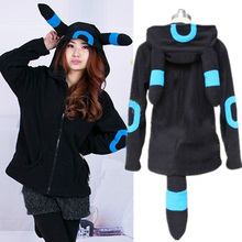 Pokemon Shiny Umbreon Women Men Zip Hoodie with Ears Tails Cosplay Costume Hoody Jacket Coat Outwear Hooded Sweatshirt