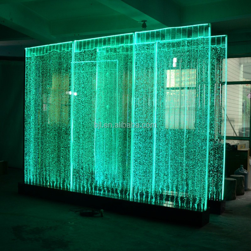 Modern restaurant lobby decorations water wall room dividers dancing led water bubble panel wall