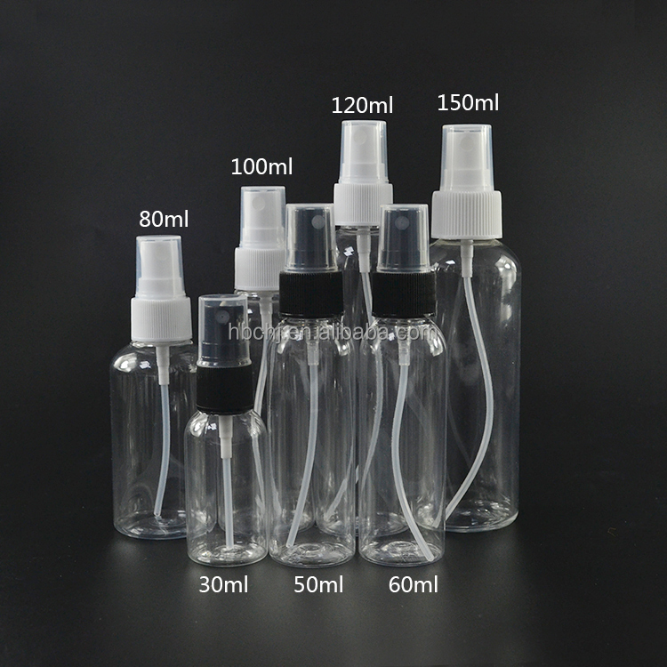 Empty  15ml 20ml 30ml 50ml 60ml 80ml 100ml 120ml clear PET  plastic spray  bottle with pump cap