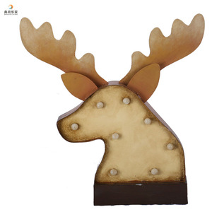 Battery Operated Metal Plate Light Up Letter Deer Head Craft with Led Bulbs, Stylish Home Decoration Gift, Nursery Light