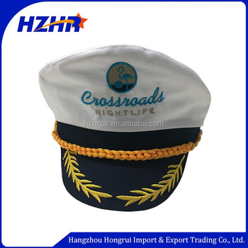 Customized embroidery flat brim military sailor cap uniform Yacht hat white sailor  hats for adult 3a77a5f0325