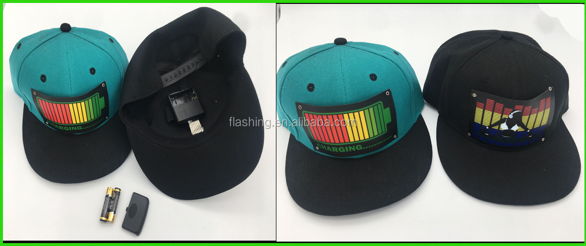 LED Hat,Sound active cap For Party,Halloween, Blacklight Run,Neon Sign, DIY Decoration