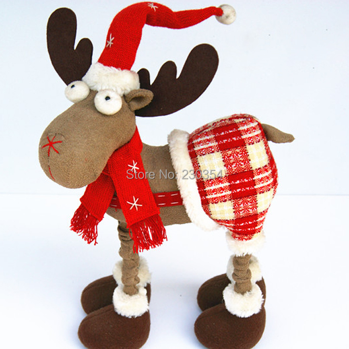 FreeShipping 45cm Christmas Reindeer Dolls New Year Gift For Children Merry Christmas Party Decoration Table Decorations211732A