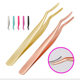 NO MOQ Stainless Steel Eyelash Tweezers False Eyelash Applicator Make Up Tools Eyebrow Tweezer Private Logo