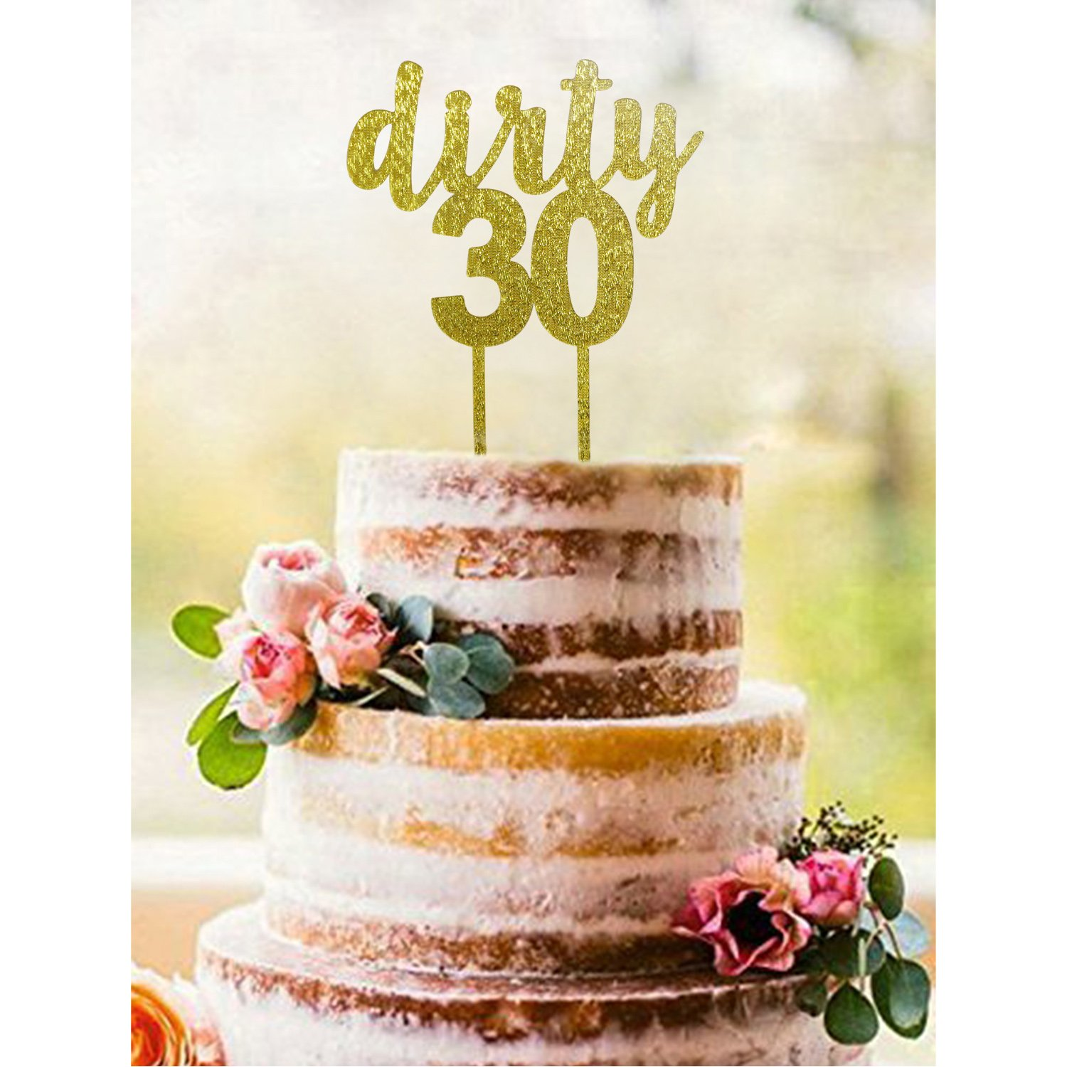 Astounding Buy Gold Dirty 30 Acrylic Cake Topper Dirty Thirty Cake Topper Personalised Birthday Cards Petedlily Jamesorg