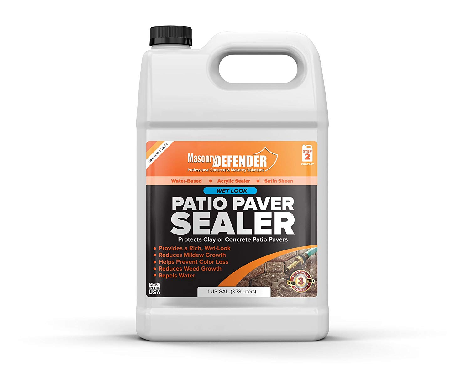 Wet Look Patio Paver Sealer, 1 Gal - Clear Water-Based Sealant for Natural Stone Surfaces