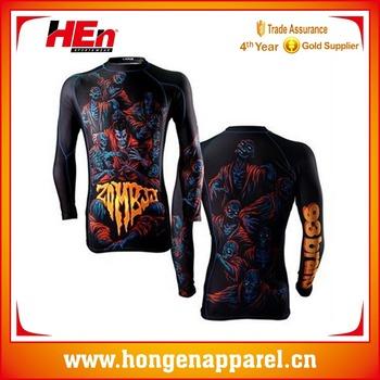 c17f106fafa Hongen apparel Manufacturer Wholesale Top Selling High Quality Custom  Printing Design Your Own MMA Rash Guard