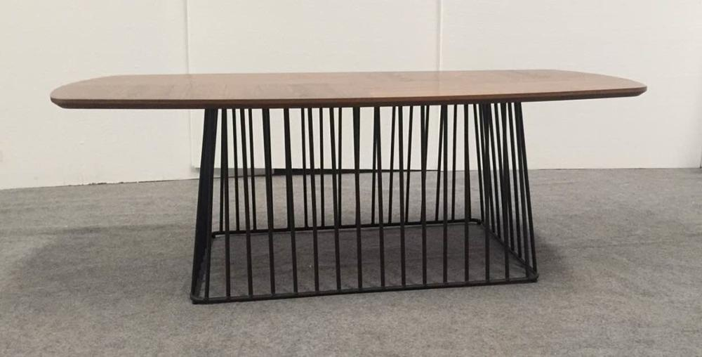 Modern metal frame wooden coffee table