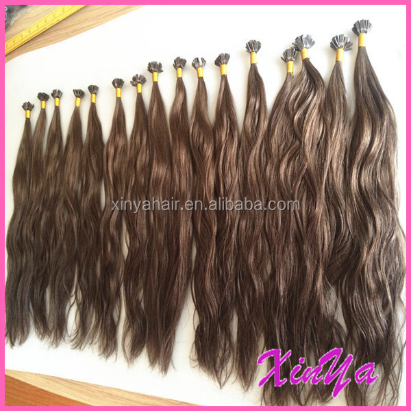 Wholesale High Quality Natural wave #8 color Flat tip keratin human hair Prebonded hair extensions distributors