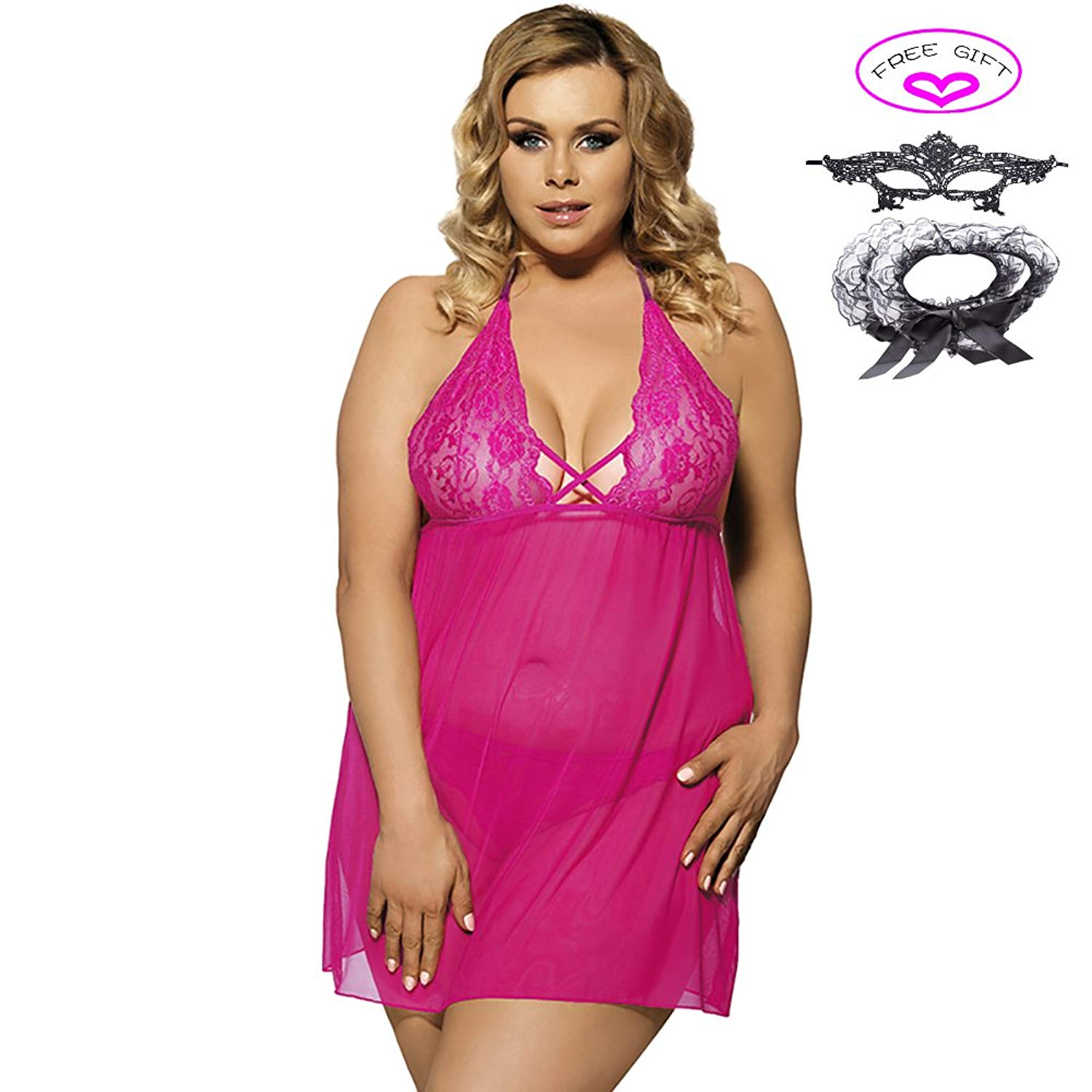 a944120d85f Get Quotations · Babydolls See-through Plus Size Halter Sexy Chemise   G- string