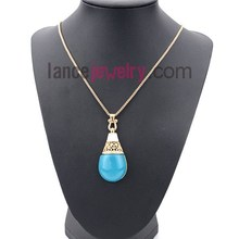 Trend Fashion Rhinestone Europe Jewelry Simple for Necklace Designs With Blue Color Drop Pendant Necklace