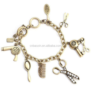 2015 Promotional Heavy Metal Chain bracelet with scissors charms