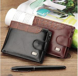 4e4e2441901c Patchwork Leather Men Wallets Short Male Purse With Coin Pocket Card Holder  Trifold Wallet Men Clutch