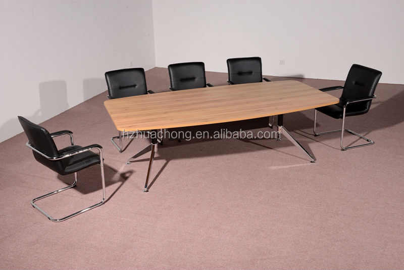 HC-M012 simple walnut color wooden conference table with metal frame